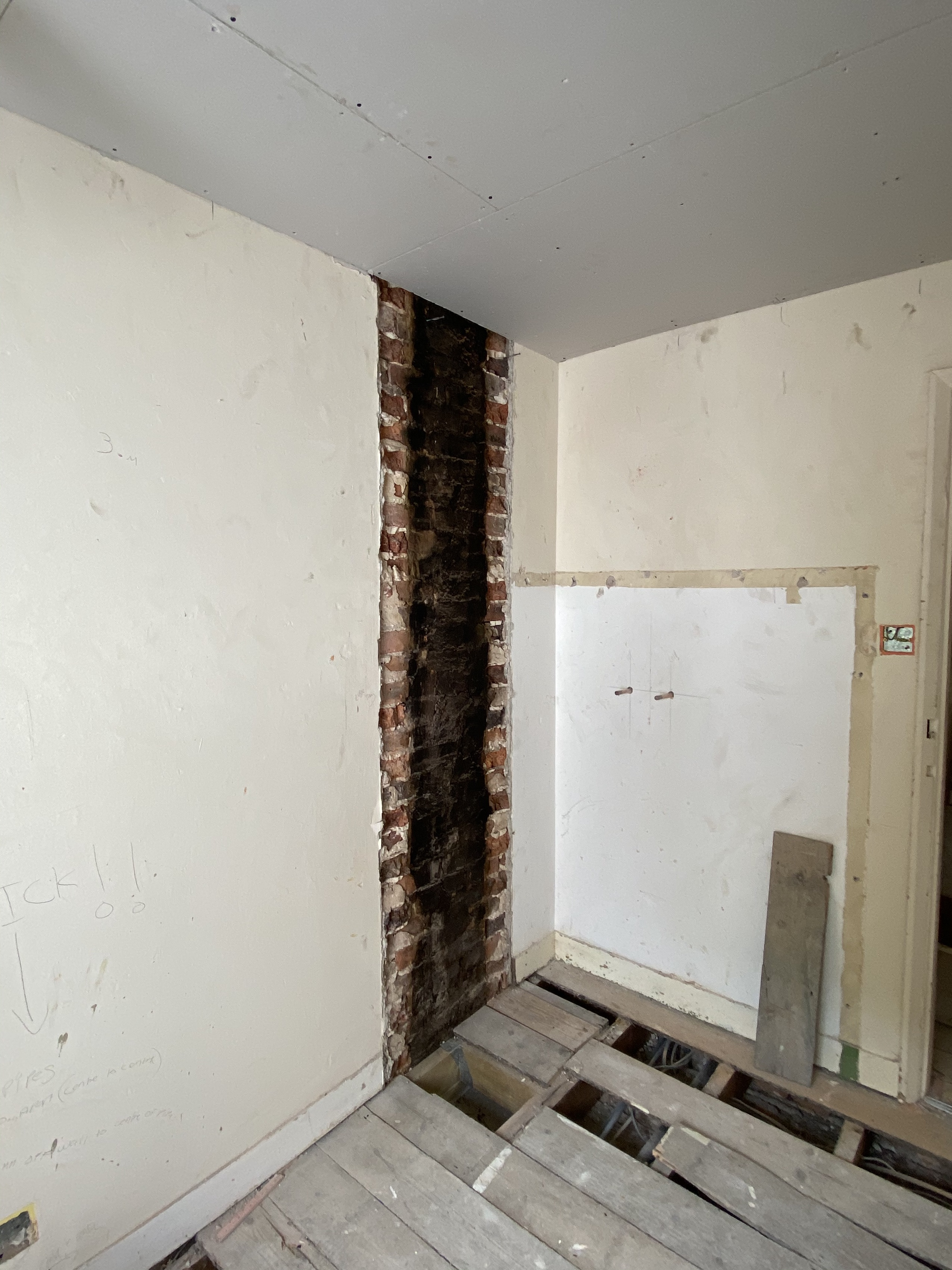 Chimney And Fireplace Removed.